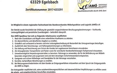 Zertifikat AMÖ-Fachbetrieb 2017